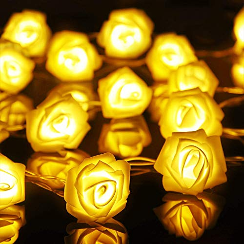 LED Rose Flower String Lights, 6.6 ft 20 LEDs Rose Lamp Fairy String Lights Battery Operated Indoor Outdoor, DIY Lights Decorations for Mother's Day Valentine's Wedding Garden Party (Warm White)