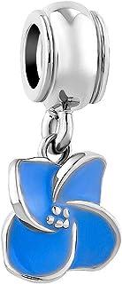 Q&Locket Blue Ochrid Flower Charms Beads for Bracelets