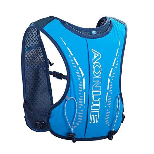 JiangTao Mochila de hidratación para correr con volumen ligero, chaleco de hidratación para niños, maratón, correr, camping, senderismo, deportes, [azul]