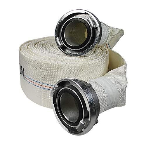 Helo 30 m Feuerwehrschlauch 2 Zoll mit (Typ C) Storz Kupplung aus Aluminium, Bauschlauch wetterfest außen aus robustem Polyester Gewebe, Innen: PVC, geeignet für bis zu 10 bar Wasserdruck