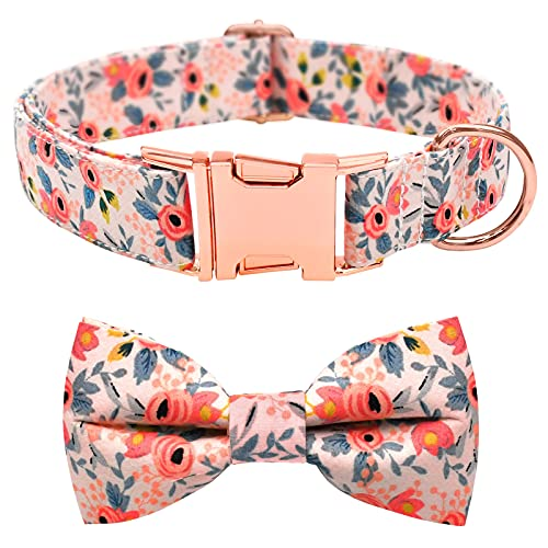 Malier Dog Collar with Bow tie, Cute Pattern Dog Collar with Hardware Buckle Adjustable Collar for Small Medium Large Dogs Puppy (Pink, X-Small)