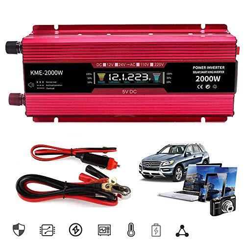 2000W Power Converter 12V 24V To 110V 220V 230V 240V Power Inverter, Car Inverter, Universal Socket Usb Port Lcd Display, Can Be Directly Connected To Car Battery, Used For Camping, Travel,24Vto220V