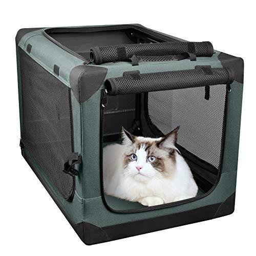 PUPPY KITTY Faltbare Auto Hundebox für Katzen und mittelgroße Hunde, tragbarer Reisehundekäfig für Kofferraum, 66 × 46 × 46 cm, Olive.
