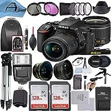 Nikon D5600 DSLR Camera 24.2MP Sensor with NIKKOR 18-55mm f/3.5-5.6G VR Len, 2 Pack SanDisk 128GB Memory Card, Backpack, Tripod, Slave Flash Light and A-Cell Accessory Bundle (Black)