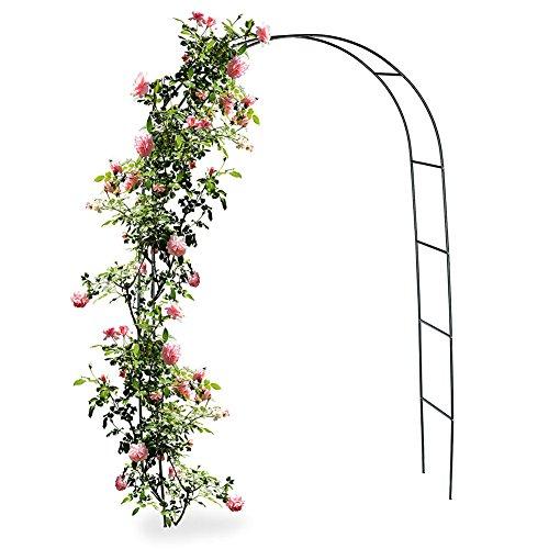 BAKAJI Arco da Giardino Supporto per Rose Piante Rampicanti in Metallo 140 x 35 x 240H Colore Verde Scuro