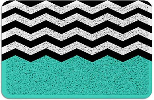 Chevron Zig-Zag Print Felpudo PVC Alfombras con Respaldo de Goma Alfombras de Piso Alfombra Antideslizante para Puerta Principal Interior Exterior Negro Turquesa