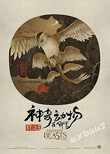 hengyuanxiang Popolare Fantasy Avventura Serie TV Animali Fantastici E Dove Trovarli Famiglia Decorazione della Parete di Arte Poster Tela Materiale G