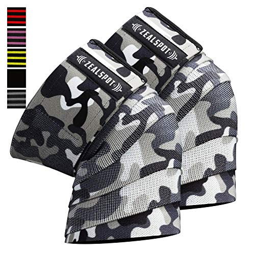 "Zealspot Knee Wraps(Pair) Compression & Elastic Support for Cross Training,WODs,Gym, Workout,Weightlifting,Fitness & Powerlifting – Best Knee Straps for Squats -for Men & Women- 72"" (Camo(Pair))"