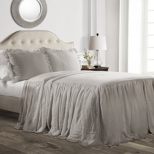 Lush Decor Gray Ruffle Skirt Bedspread Shabby Chic Farmhouse Style Lightweight 3 Piece Set-King