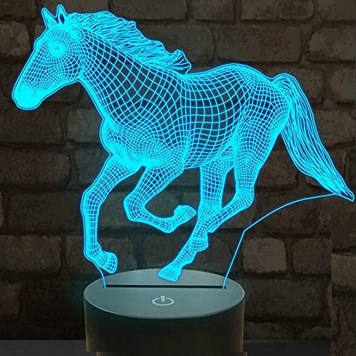 Lámpara de caballo 3D Ilusión óptica Luz de noche LED Ilusiones ópticas Lámpara de noche 16 colores Lámpara de cabecera táctil Mesa de dormitorio Art Deco Luz de noche para niños
