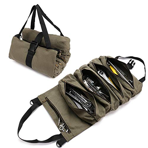 Organizador de herramientas de lona resistente con 5 bolsillos con cremallera, bolsa enrollable para electricista, aire acondicionado, fontanero, carpintero o mecánico.