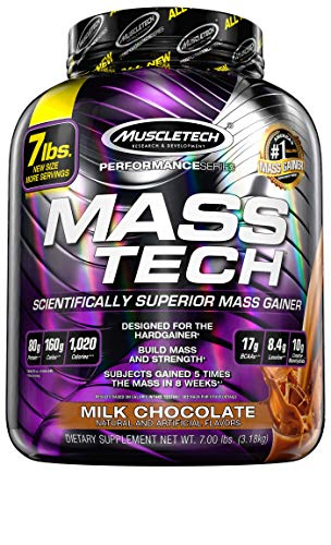 Mass Gainer Protein Powder | MuscleTech Mass-Tech Elite | Muscle Builder Whey Protein Powder + Creatine | Max-Protein Weight Gainer for Men & Women | Milk Chocolate, 7 lbs