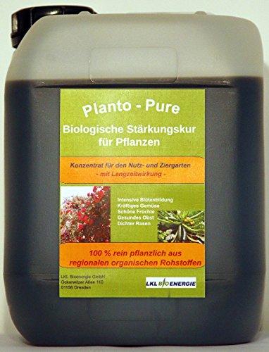 Planto - Pure – Naturdünger für Rasen, Rosen, Obst, Gemüse und Zierpflanzen - Rein biologische Stärkungskur mit hochwertigen Nährstoffen - Qualität aus Deutscher Produktion, 5 Liter Vorratskanister