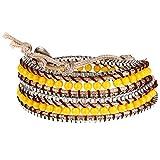 Morella® Damen Wickelarmband mit Metallkettchen - gelb