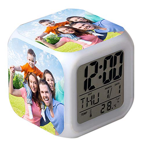 Personalized 7 Colors LED Changing Digital Alarm, Custom Photo Digital Alarm Clocks Night Glowing Cube LCD Clock with Light for Kids Women Bedroom Home Decor Birthday Gifts