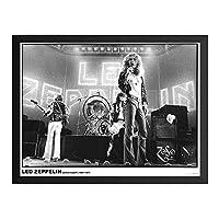 ハンギングペインティング - LED ZEPPELIN レッドツェッペリン (デビュー50周年記念) - Earls Court 1975のポスター 黒フォトフレーム、ファッション絵画、壁飾り、家族壁画装飾 サイズ:33x45cm(額縁を送る)