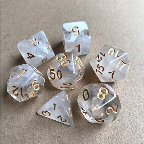 PYSDWE Dados poliédricos 42pcs New Dice Set Dados Tocando Cubos Dados poliédricos para RPG Dungeons y para la enseñanza de matemáticas ( Color : White Gold )