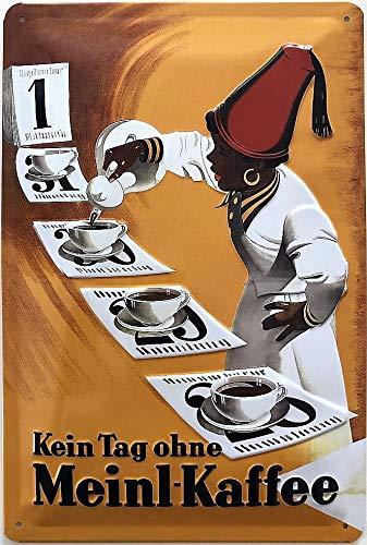 Deko7 blikken bord 30 x 20 cm Vintage reclame - Kein Tag ohne Meinl koffie