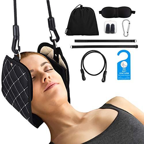 MoKo Almohada para Cuello Masaje para Cabeza, Dispositivo Portátil de Estiramiento de Tracción Cervical para Alivio del Dolor de Cuello y Hombro con Mascarilla de Ojos para Mujer y Hombre - Negro