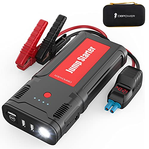 DBPOWER Jump Starter, 2500A/21800mAh UltraSafe Car Battery Booster 12V Auto Portable Lithium-Ion Power Pack for up to 8.0L Gasoline/6.5L Diesel Engines with LED Screen Clamp Cables, LED Flashlight