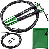 Speed Jump Rope - Premium Heavy Duty Adjustable Speed Rope- Lightweight, Solid Aluminum Handles & Ball Bearing- Smooth Crossfit Jump Rope- Extra Cable, Travel Bag & Ebook- Double Unders Game Changer