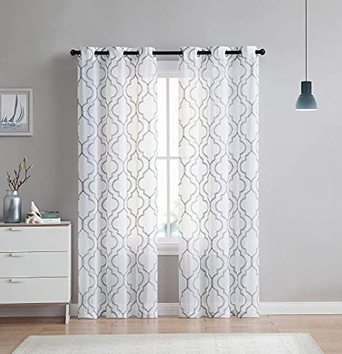 VCNY Home 2 Pack Charlotte Embroidered Quatrefoil Trellis Semi Sheer Curtain Panels - Assorted Colors & Sizes (84 in. Length, Grey)