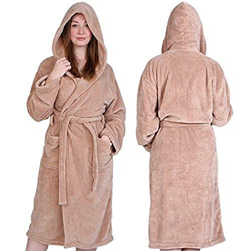 Jago Accappatoio morbido con cappuccio uomo donna unisex in poliestere taglia S colore sabbia