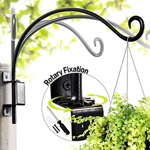 "Swivel Plant Hanger | Hand-Forged Hanging Plant Bracket (16""/Black) More Convenient Use and Designed with Rotary Fixation for Wall Plant Hooks"