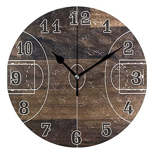 Lewiuzr Reloj de Pared, cancha de Baloncesto, patrón de Madera, silencioso, sin tictac, Reloj Redondo para el hogar, Sala de Estar, Cocina, Oficina, decoración Escolar