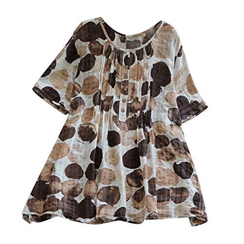 Zegeey Damen T-Shirt Baumwoll Leinen Tunika Drucken Rundhals Kurzarm Jacquard Oberseiten Blusen Tops Shirts T-Shirt Mode LäSsige Lose(Kaffee,42 DE/XL CN)
