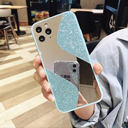 Estuche para teléfono con Espejo de Maquillaje Brillante para iPhone 11 12 Pro MAX 12 Mini XR X XS MAX 6 6S 8 7 Plus SE 2020 Fundas de Silicona Suave para iPhone 12 Azul
