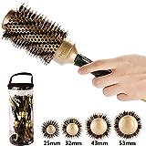 Aozzy 4 modèles Ronde Brosse en poils de sanglier Antibacterial, Ceramic, Antistatic, sèche-cheveux Outil élégant de cheveux de de salon profession pour Cheveux en bonne santé, soyeux, lisses de