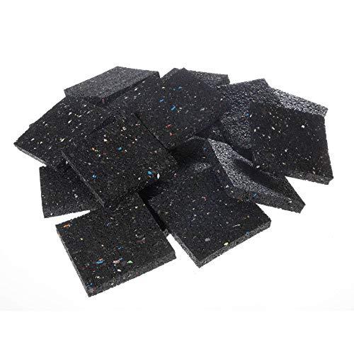 acerto 31138 Hochwertige Terrassenpads - 100 Stück (100 x 100 x 15 mm) - Gummigranulat-Pads für Holzterrassenbau