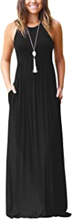 Women's Sleeveless Racerback Loose Plain Maxi Dresses...