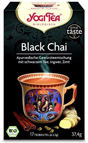 Yogi Tee 10x Black Chai Bio YOGI TEA® I leckere ayurvedische Gewürz-Tee-Mischung m. Ingwer Zimt uvm. I großes Tee-Set mit 10x 17 Tee-Beutel - echte Bio-Qualität I Schwarztee-Mischung 10 Päckchen