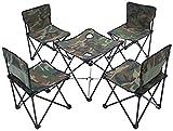 Cinco piezas al aire libre plegable Mesa Juego de sillas camuflaje de tela Oxford aleación de aluminio material resistente estables Sillas de jardín portátil for acampar al aire libre Barbacoa Beach