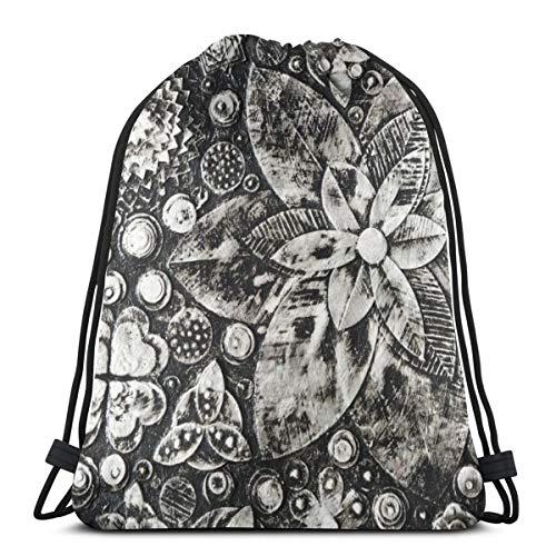 N/D Noir et blanc Composition Fait de couches de peinture Femmes Fille Art Cordon Sac à dos Sac à dos Poutre Bouche Gym Sac à Bandoulière Sacs Pour Hommes et Femmes