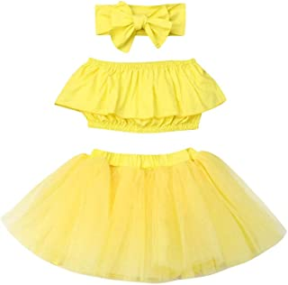 mlpeerw 3Pcs Newborn Baby Girl Outfits Clothing Kids Cute Ruffle Tube Top+Tulle Tutu Skirt Dress with Headband