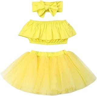 3Pcs Newborn Baby Girl Outfits Clothing Kids Cute Ruffle Tube Top+Tulle Tutu Skirt Dress with Headband