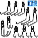 Garage Hooks, Inteli-topia Steel Garage Storage Hooks Utility Double Heavy Duty for Organizing Power Tools, Ladders, Bikes, Bulk Items, Pack of 10