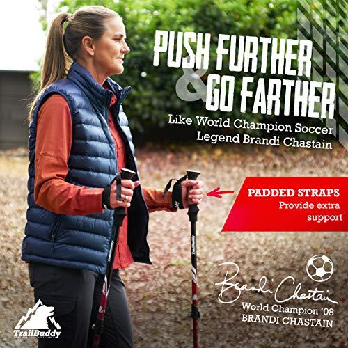 TrailBuddy Lightweight Trekking Poles - 2-pc Pack Adjustable Hiking or Walking Sticks - Strong Aircraft Aluminum - Quick Adjust Flip-Lock - Cork Grip, Padded Strap - (Spring Green)