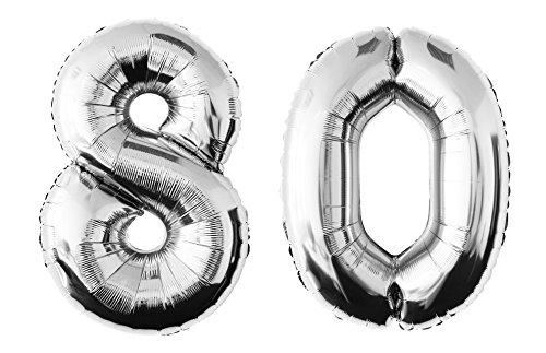 Folienballon 80 silber Zahlenballon Luftballon Riesenzahl Party Hochzeit Kindergeburtstag Geburtstag