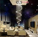 LightInTheBox–Alarma Caja @ L170cm espiral transparente cristal iluminación–Lámpara colgante de techo Iluminación de diámetro 60cm 8x GU10, Max 50W