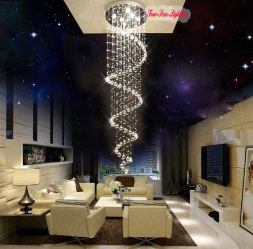 Lightinthebox @ L170 cm spirale trasparente illuminazione cristallo lampada lampadario lampadario lampadario lampadario lampadario a sospensione Ø 60 cm 8 x GU10 max 50 W