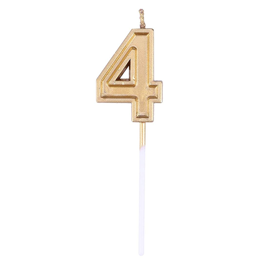 コアコジオスコスポンサーToyvian ゴールドラメ誕生日おめでとう数字キャンドル番号キャンドルケーキトッパー装飾用大人キッズパーティー(番号4)