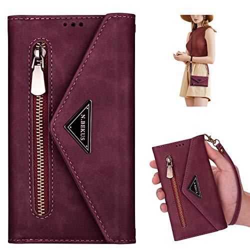 Kompatibel mit Xiaomi Mi 10 Lite Hülle, Brieftasche Handyhülle Leder Wallet Case Schutzhülle Geldbörse Tasche mit 5 Kartenfächer Reißverschluss Handschlaufe Handytasche Klapphülle,Rot