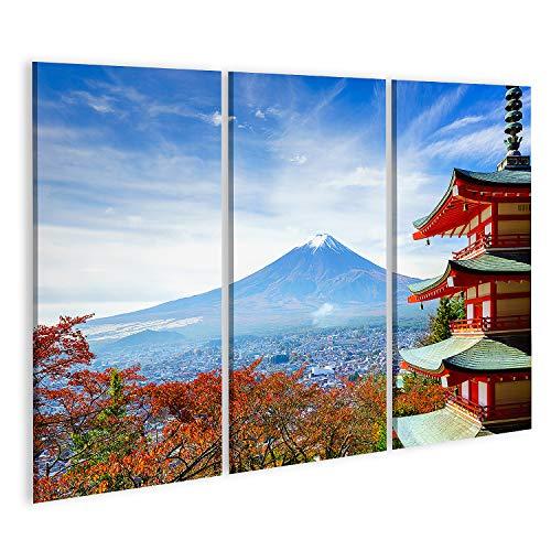 islandburner Cuadro en Lienzo El Monte Fuji con la Pagoda Chureito en otoño Fujiyoshida Japón Cuadros Modernos Decoracion Impresión Salon
