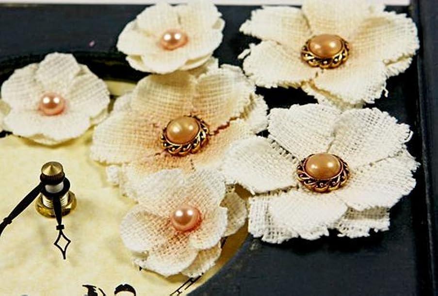Prima 538262 Calcutta Minis Layered Fabric Flower Embellishments, Seashell
