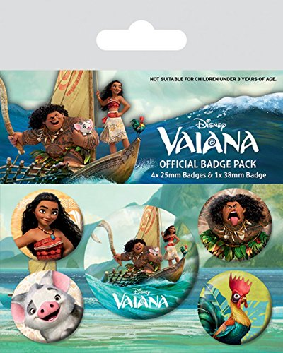 1art1 Vaiana - Vaiana Characters, 1 X 38mm & 4 X 25mm Buttons Button Pack 15 x 10 cm