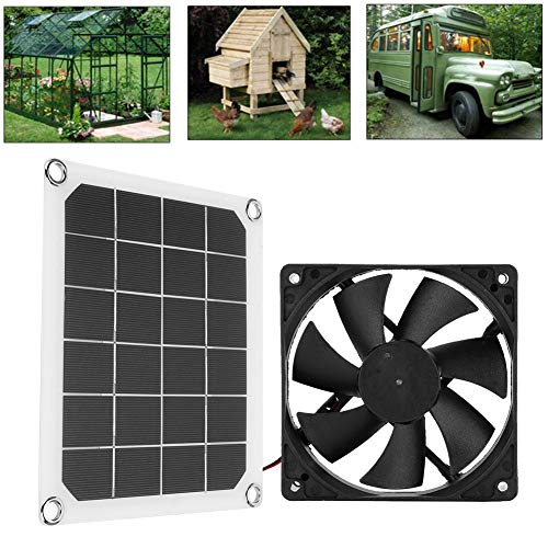 Ladieshow Solarpanel-Abluftventilator, Premium-Abluftventilator, 6V 10W Solar Powerd Panel USB-Ladestation Solarpanel Mini-Kühlventilator-Set für das Gewächshaus des Hühnerhühnerhauses
